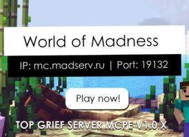 Один из лучших серверов выживания и гриферства — World of Madness!